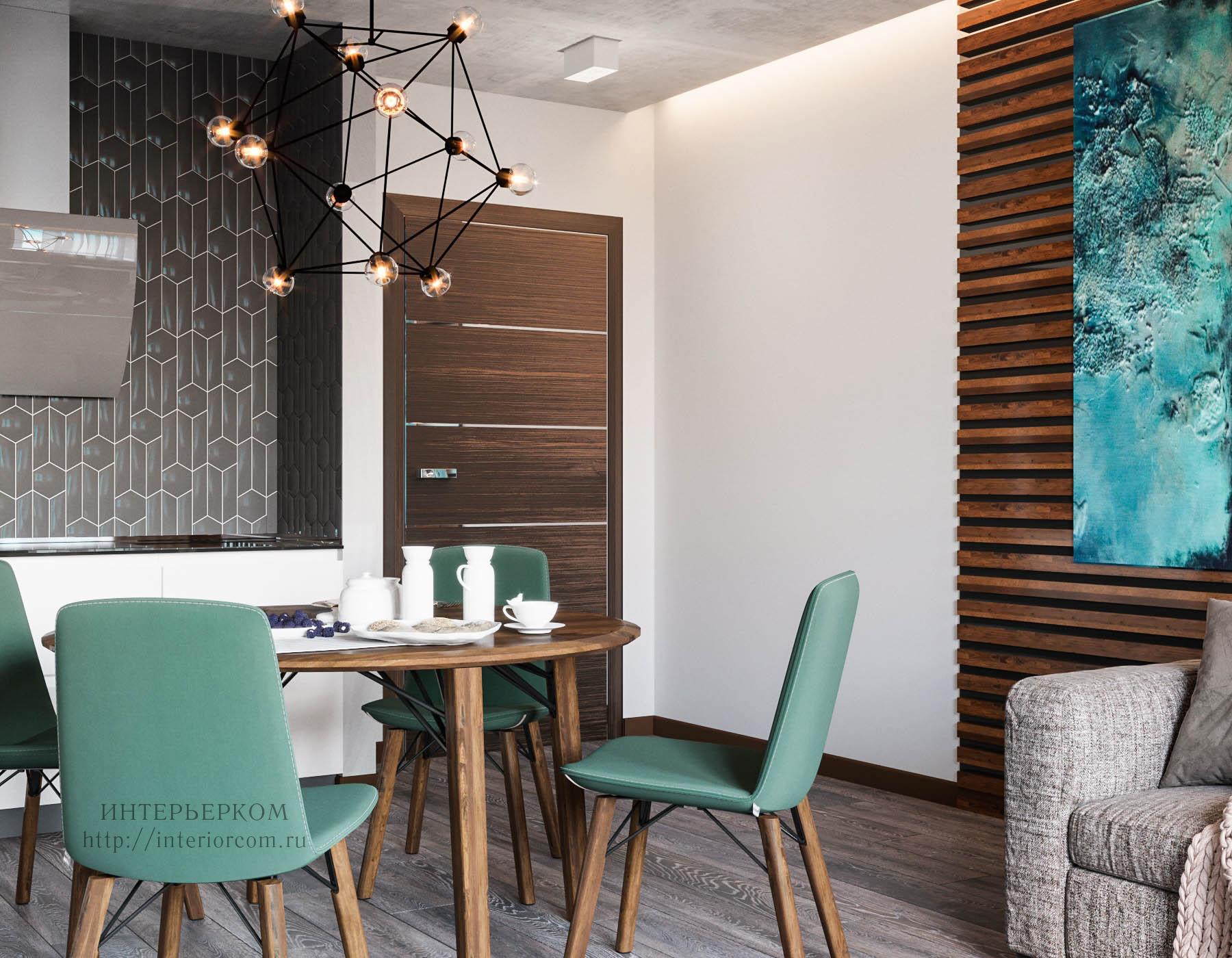 кухня-гостиная в проекте студии Интерьерком