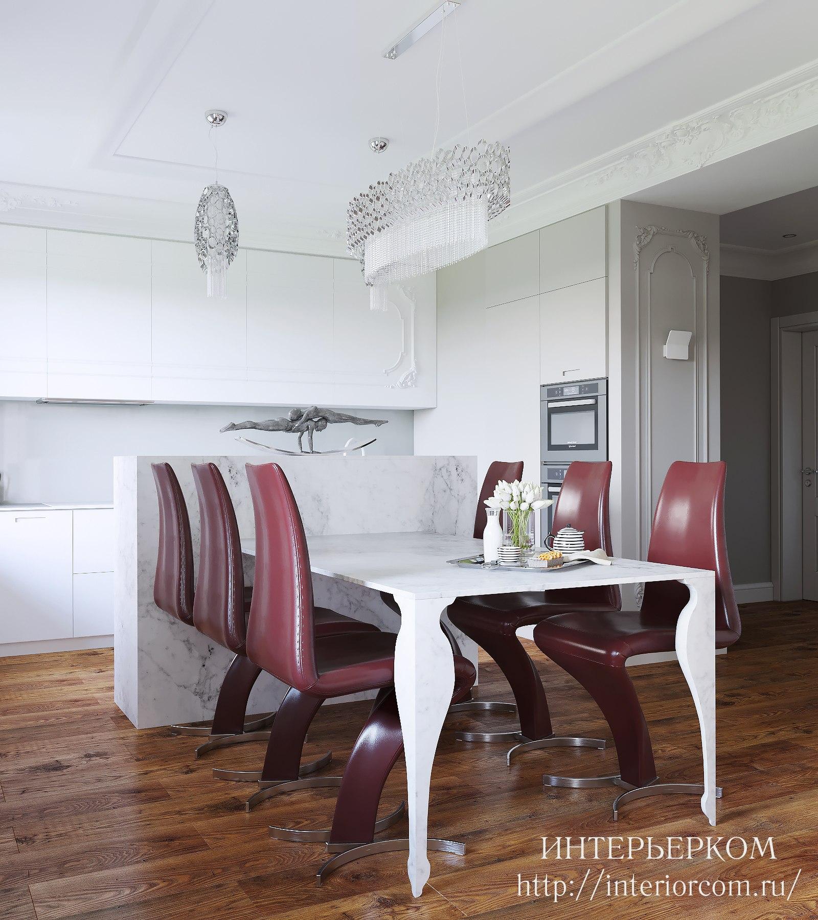 бордовые стулья в кухне