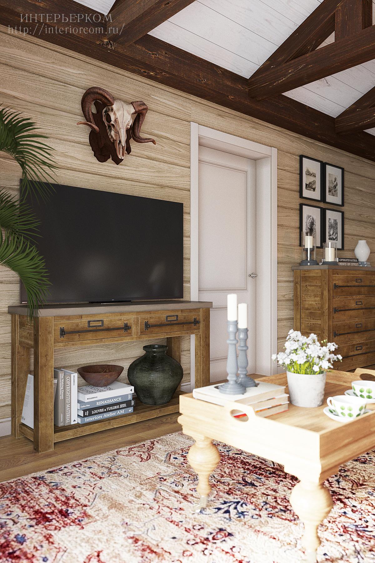 размещение телевизора в дизайн-проекте в стиле шале