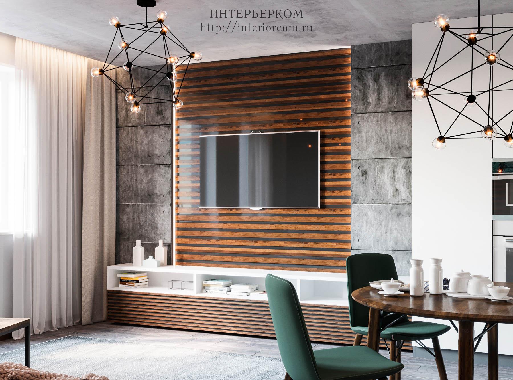 дизайн зоны ТВ в проекте квартиры в стиле лофт