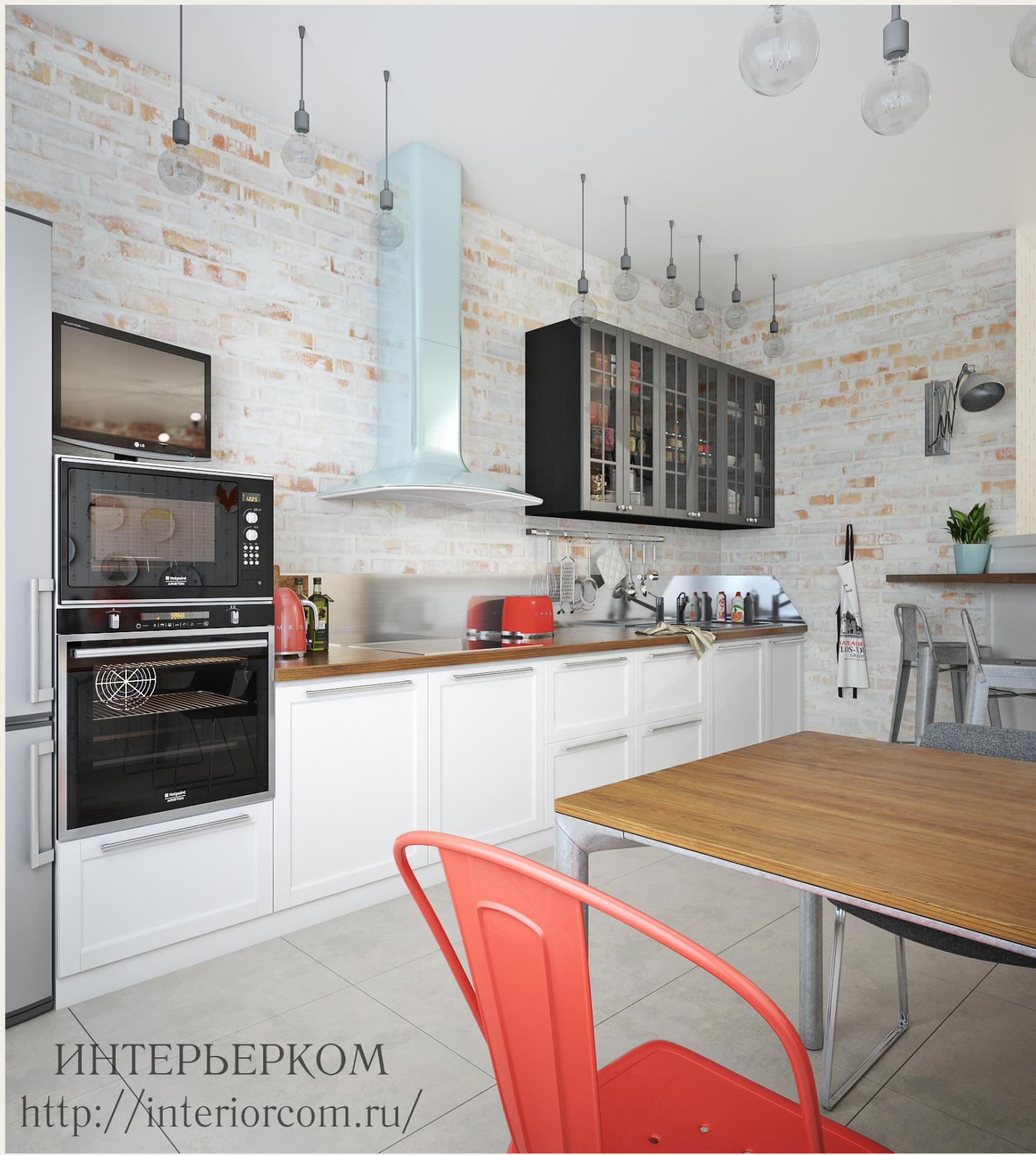 кирпич и белая кухны