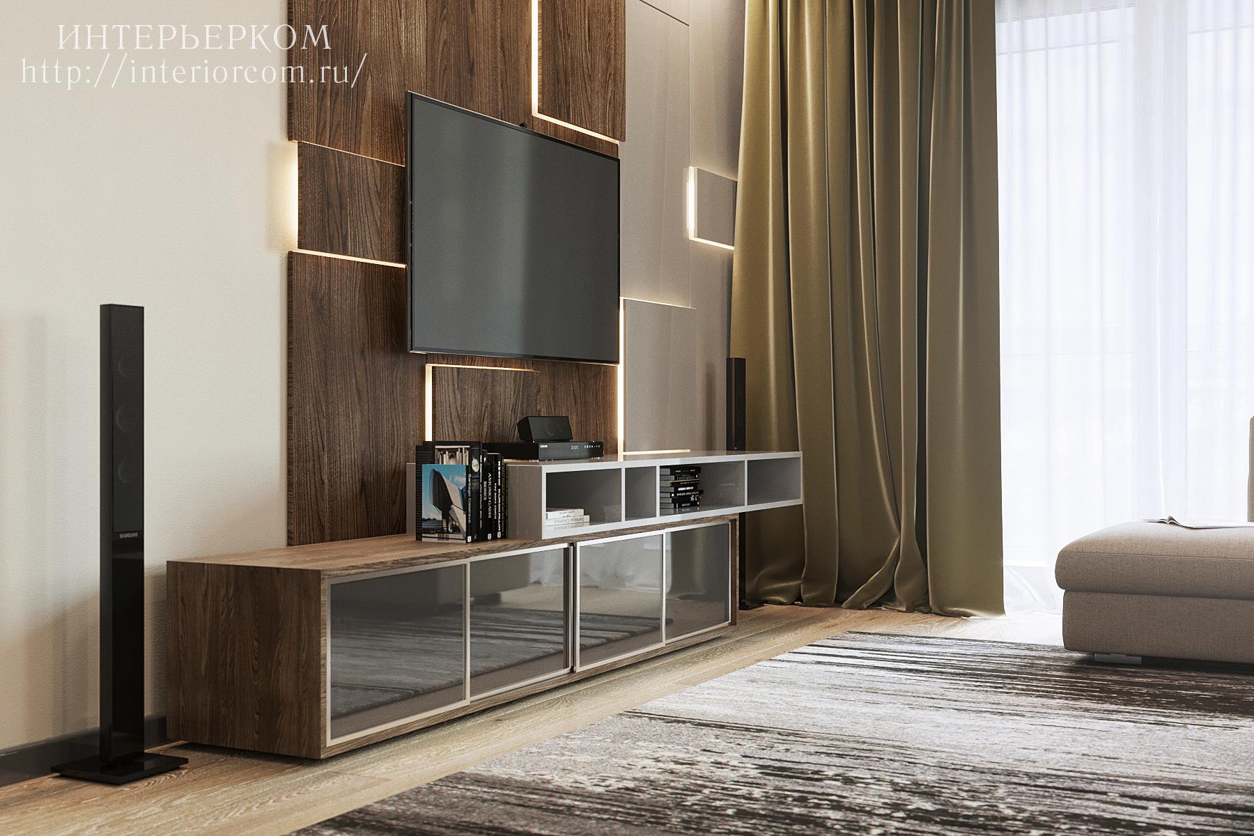 оформление зоны ТВ в проекте четырехкомнатной квартиры