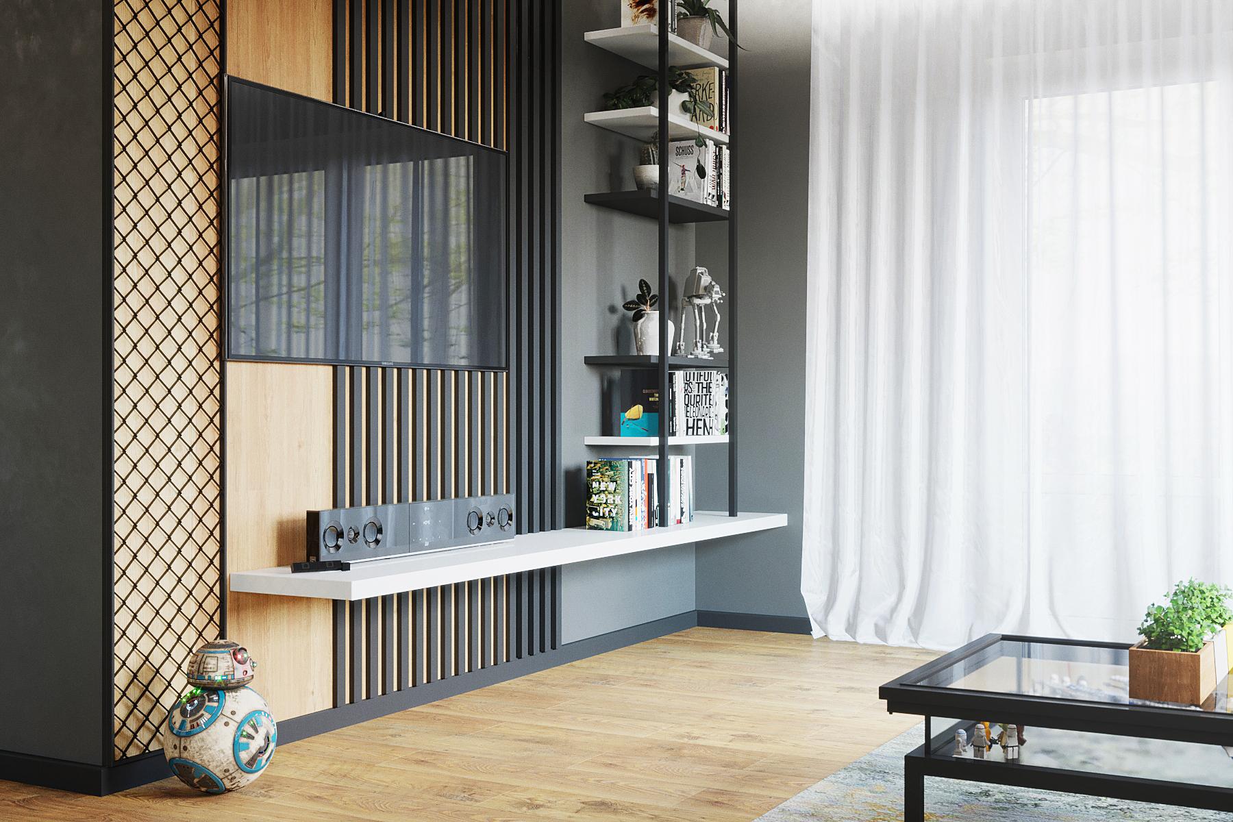 дизайн зоны ТВ в проекте дома в Краснодаре