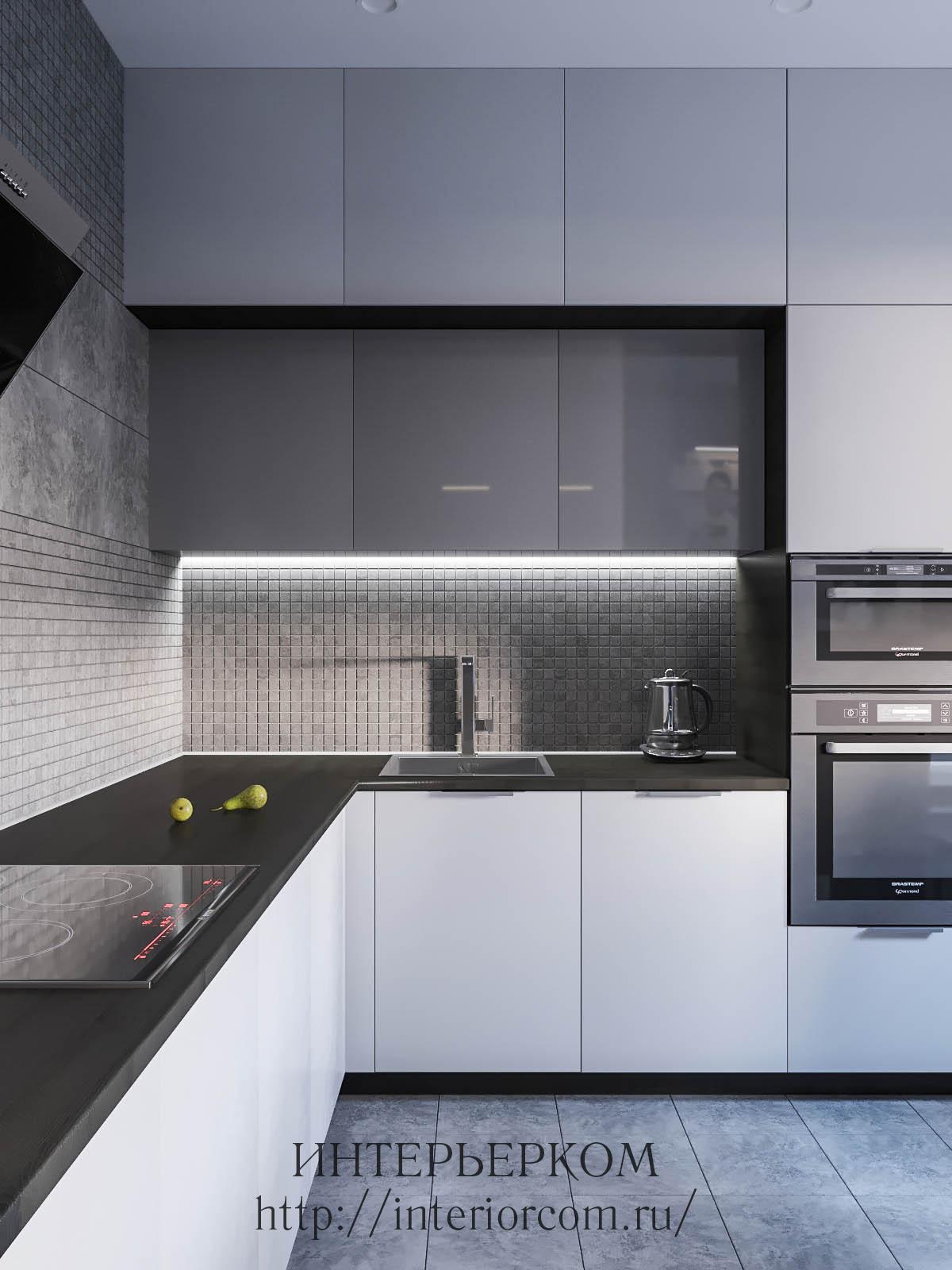 серый с белым в интерьере кухни