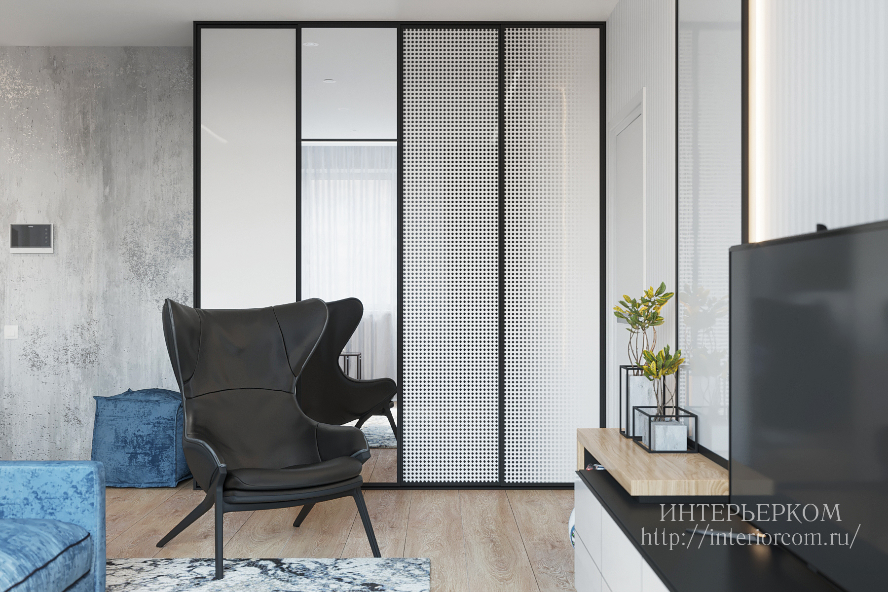 шкаф-купе в интерьере квартиры для холостяка