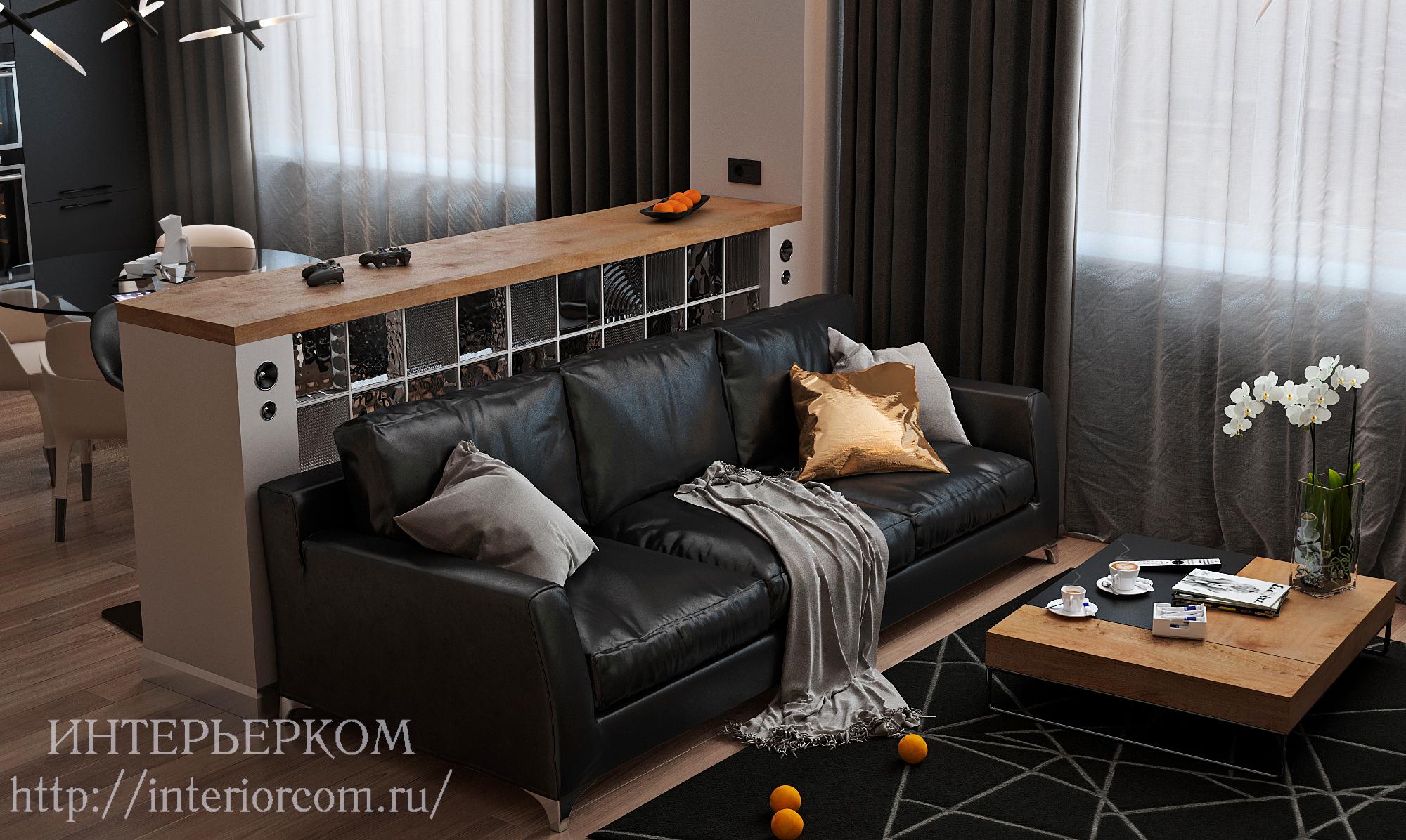 гостиная в мужском интерьере
