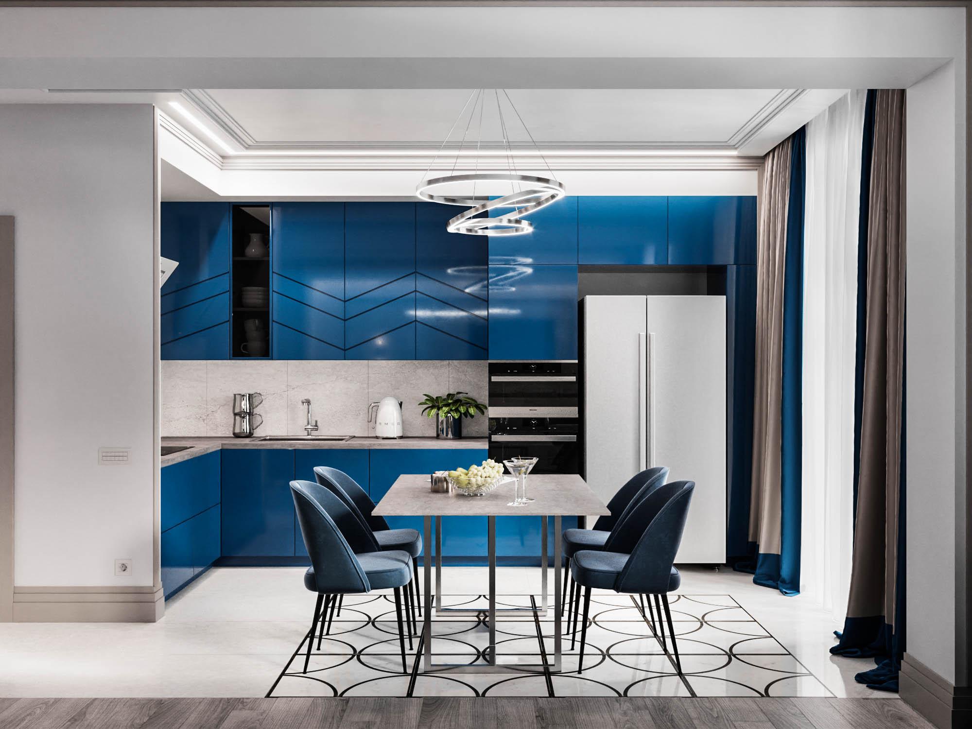 дизайн-проект квартиры в ярком синем цвете
