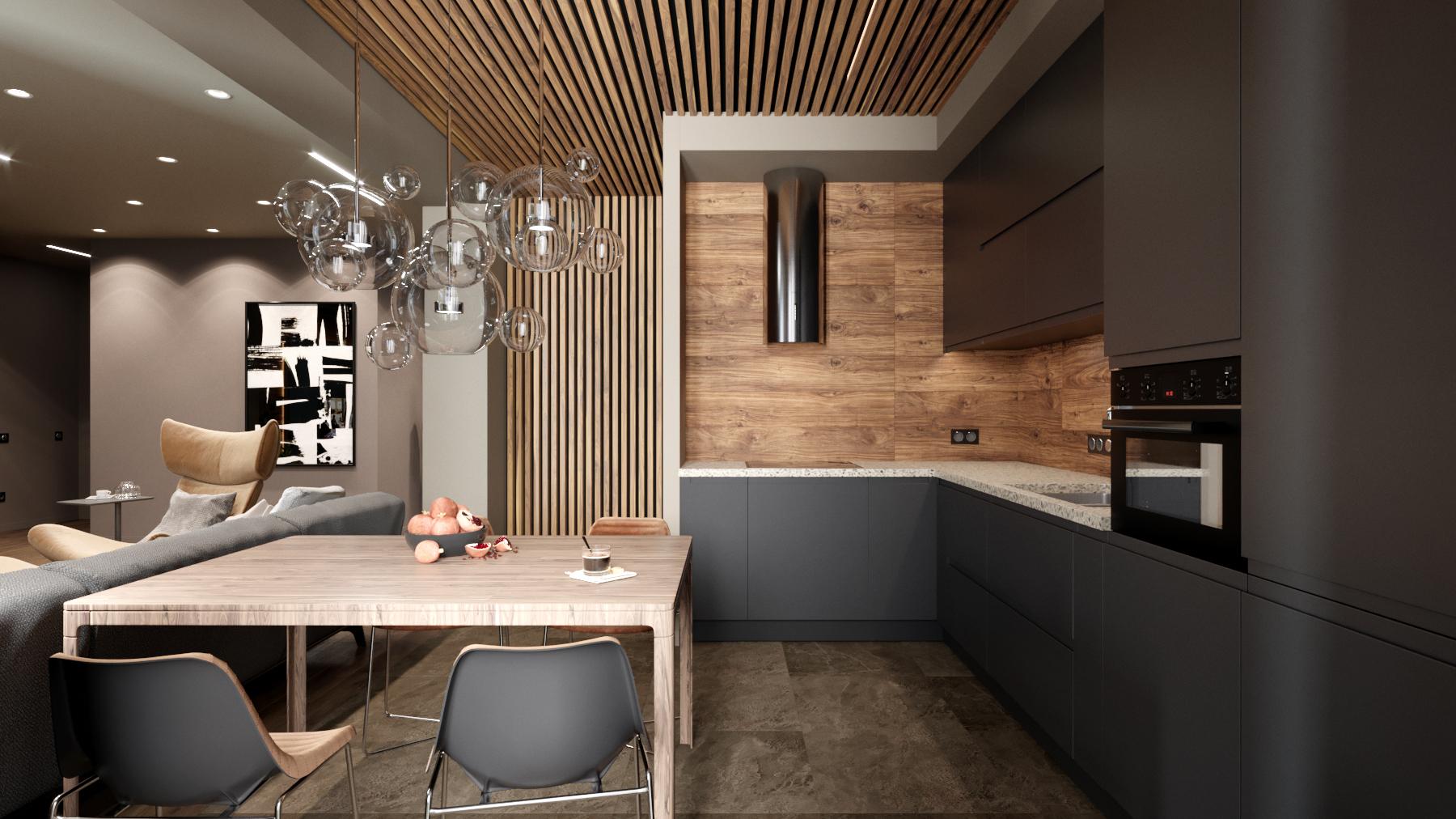 кухня в сером цвете дизайн-проект
