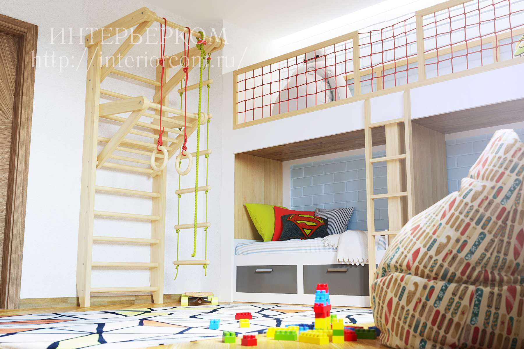 детская для двоих детей проект от студии Интерьерком