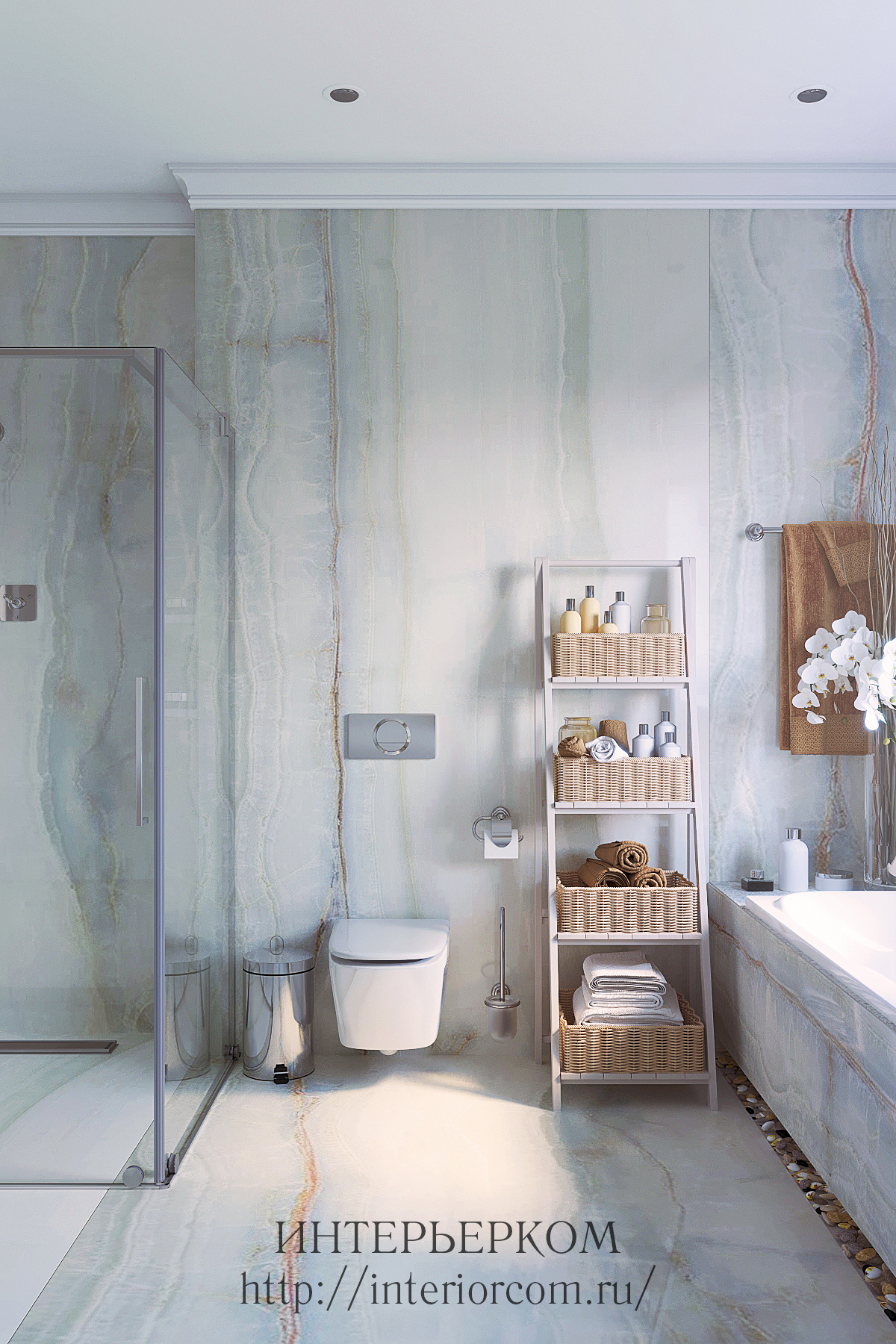 крупноформаная плитка в интерьере ванной