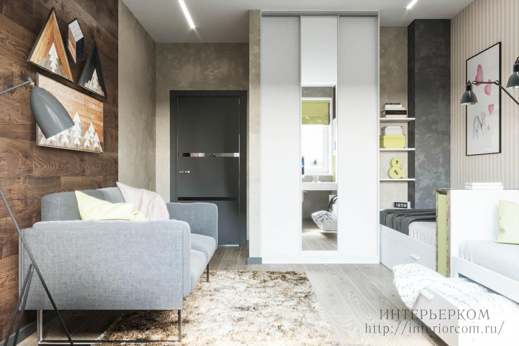 шкаф-купе в интерьере четырехкомнатной квартиры