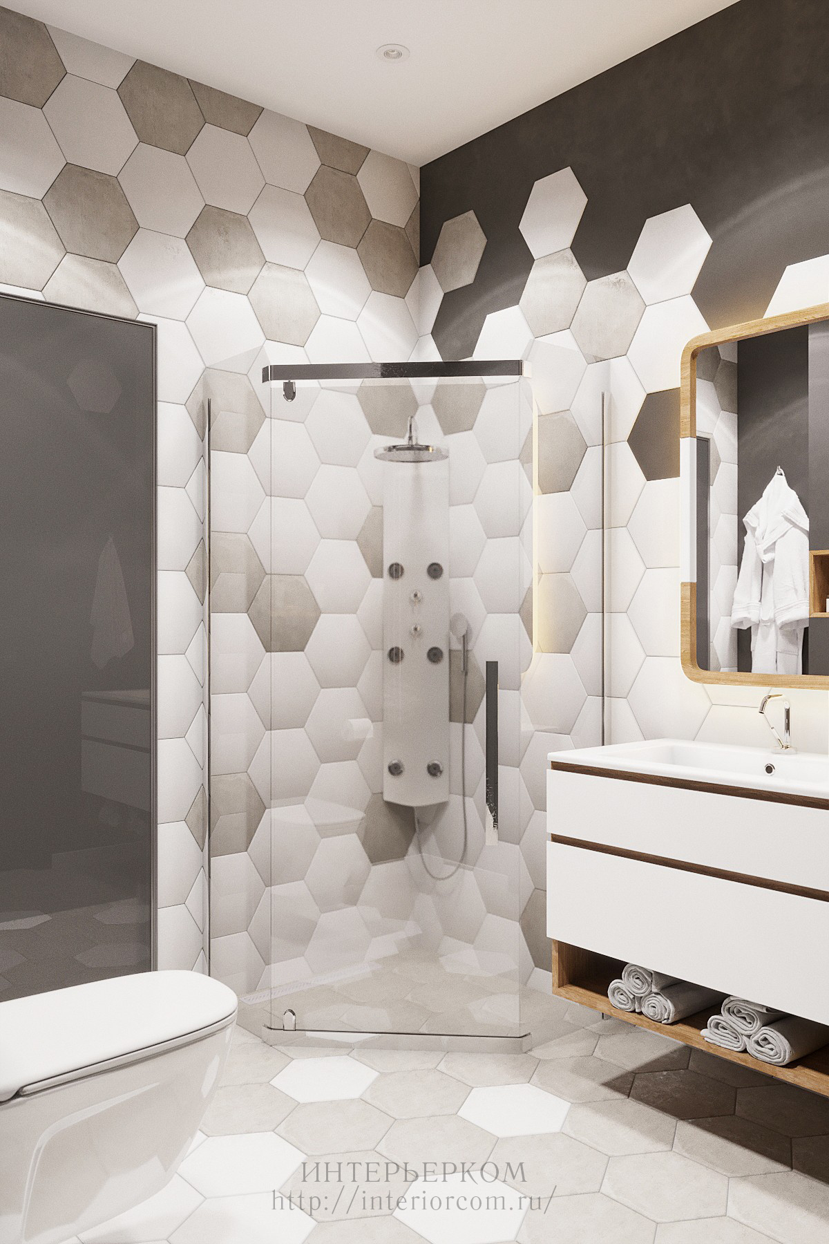 дизайн-проект ванной в коттедже в Краснодаре