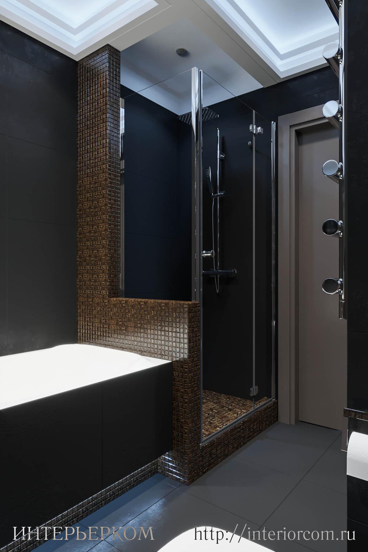 современный душ в интерьере