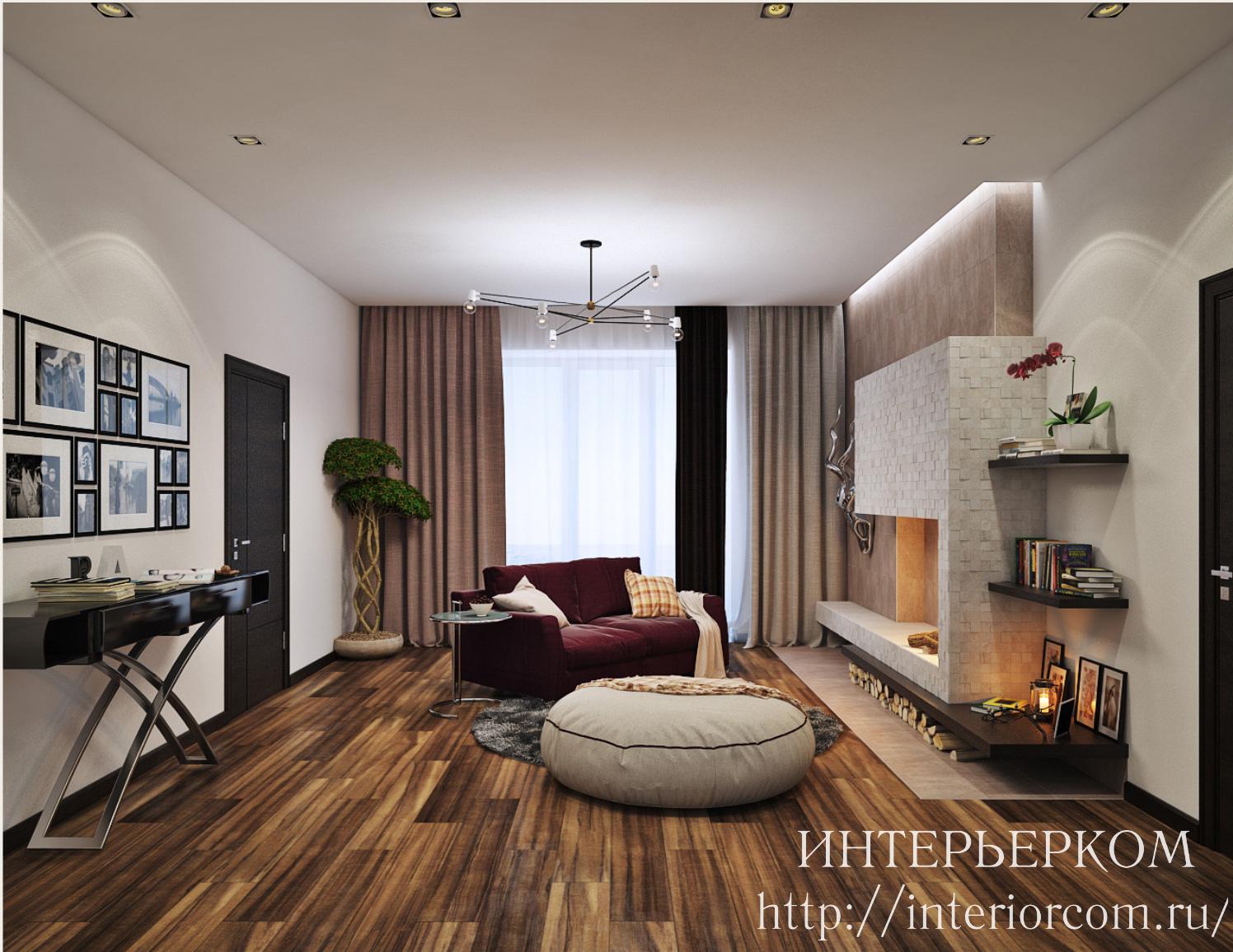 каминная с бордовым диваном