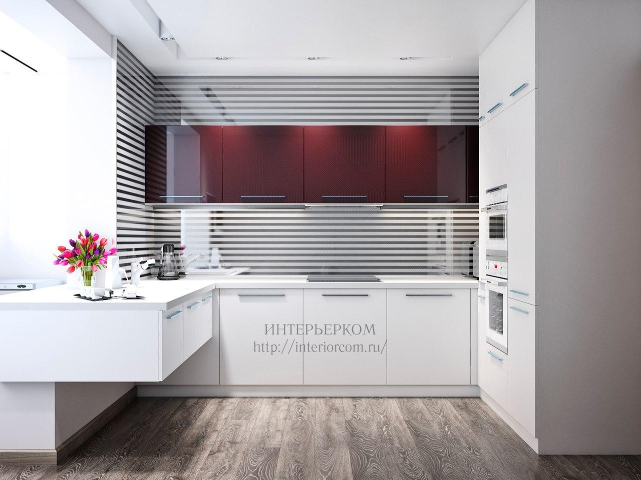 бордовый в интерьер кухни