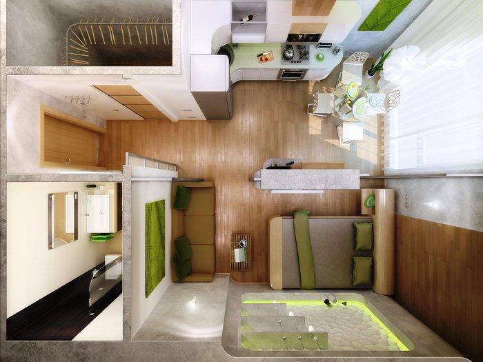 Дизайн интерьера квартира студия 25 кв м