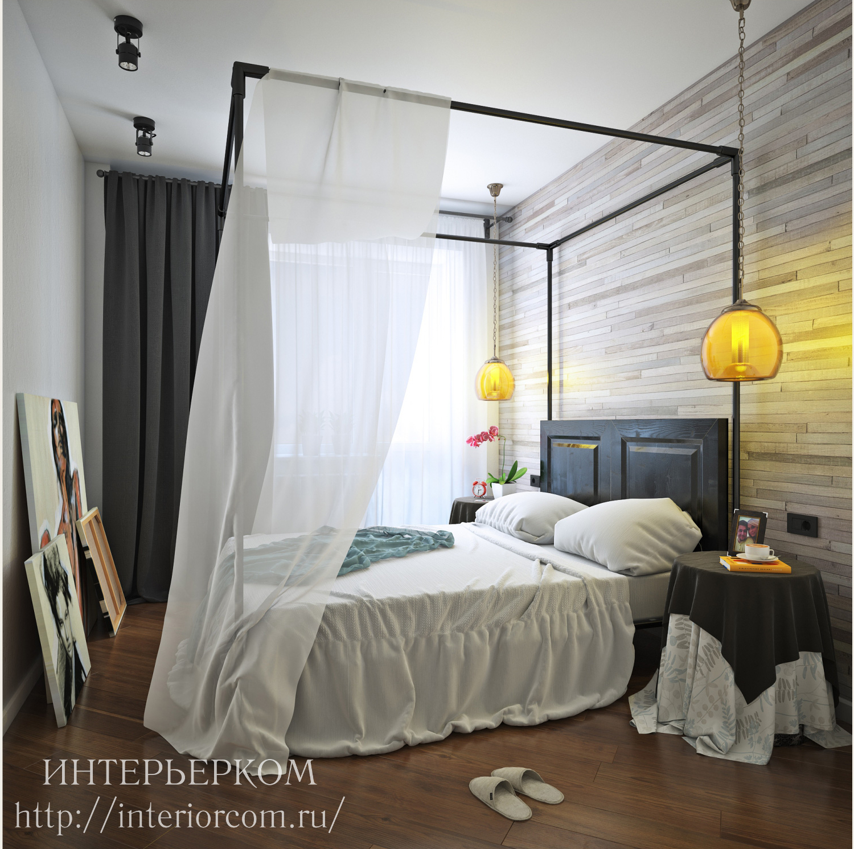 кровать в спальне, дизайн