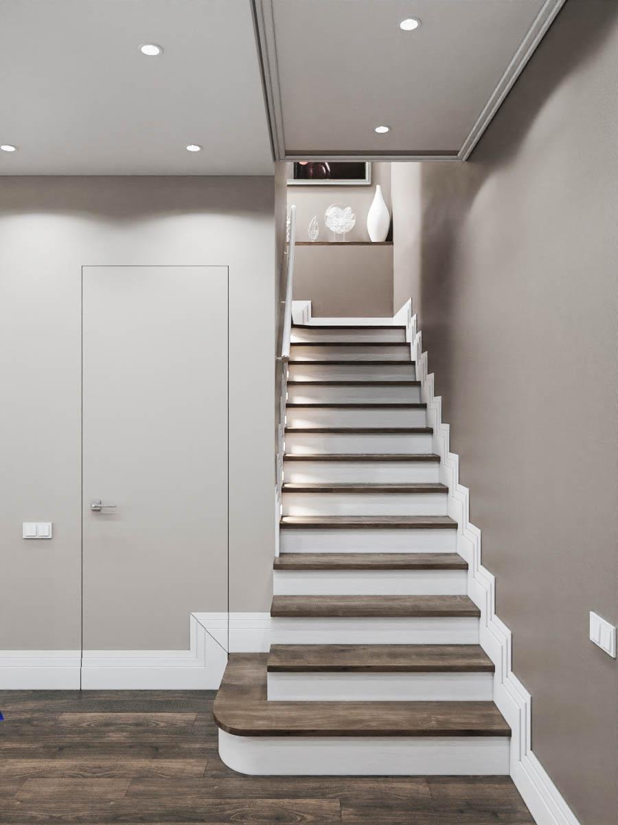 лестница в проекте двухуровневой квартиры