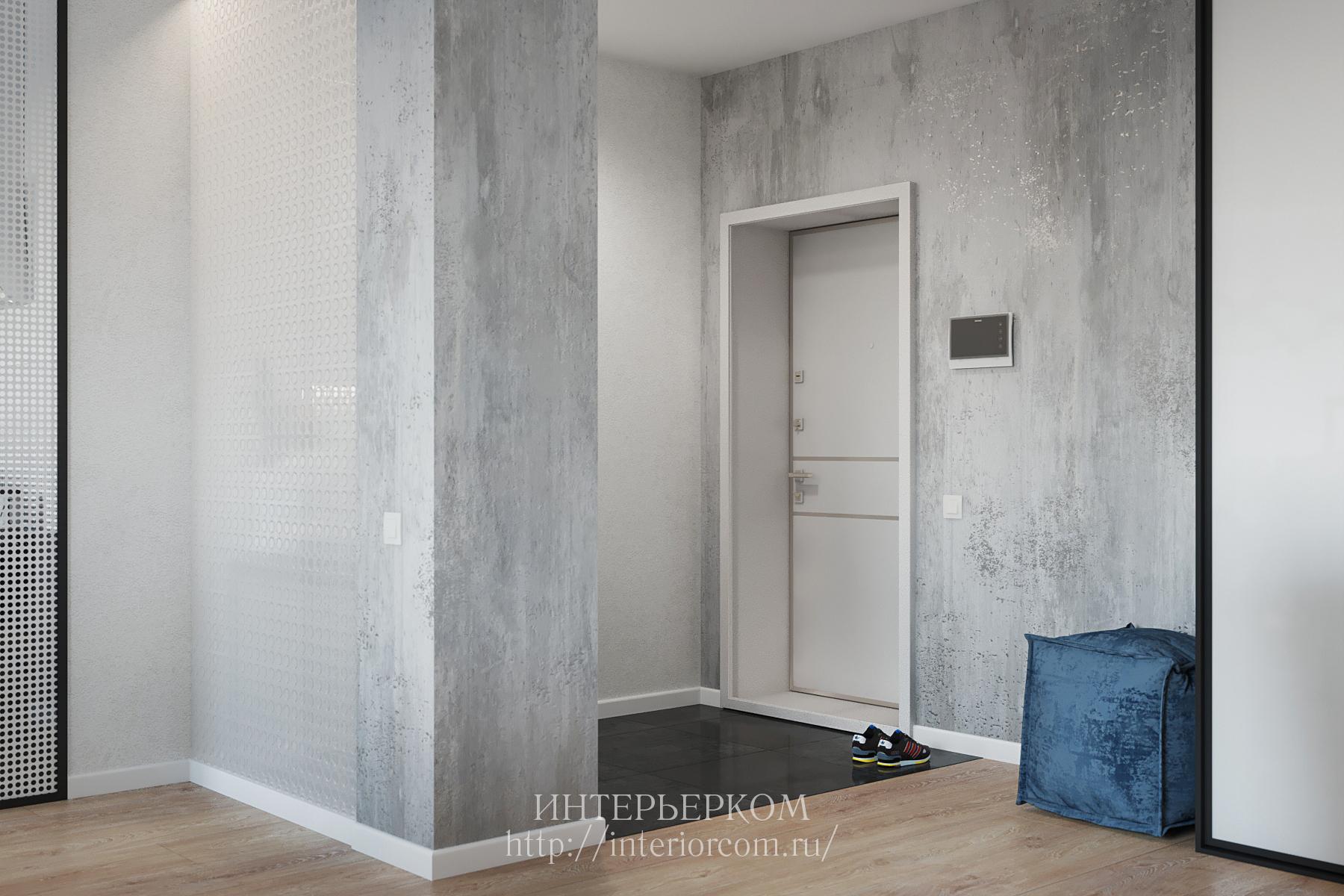 стены под бетон в интерьерье
