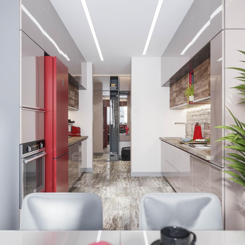 пример узкой кухни с параллельным размещением мебели