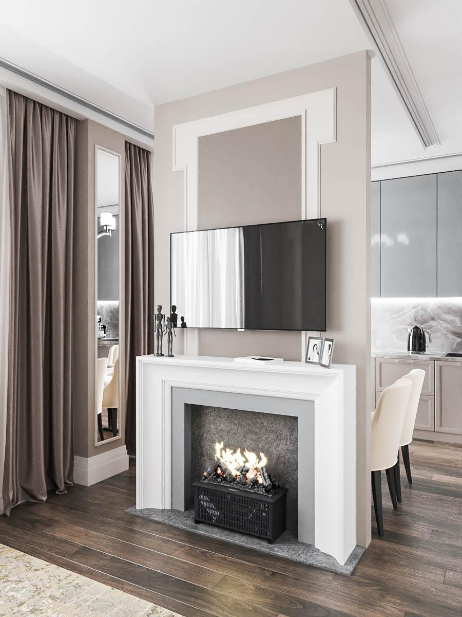 кухня/гостиная в проекте двухуровневой квартиры