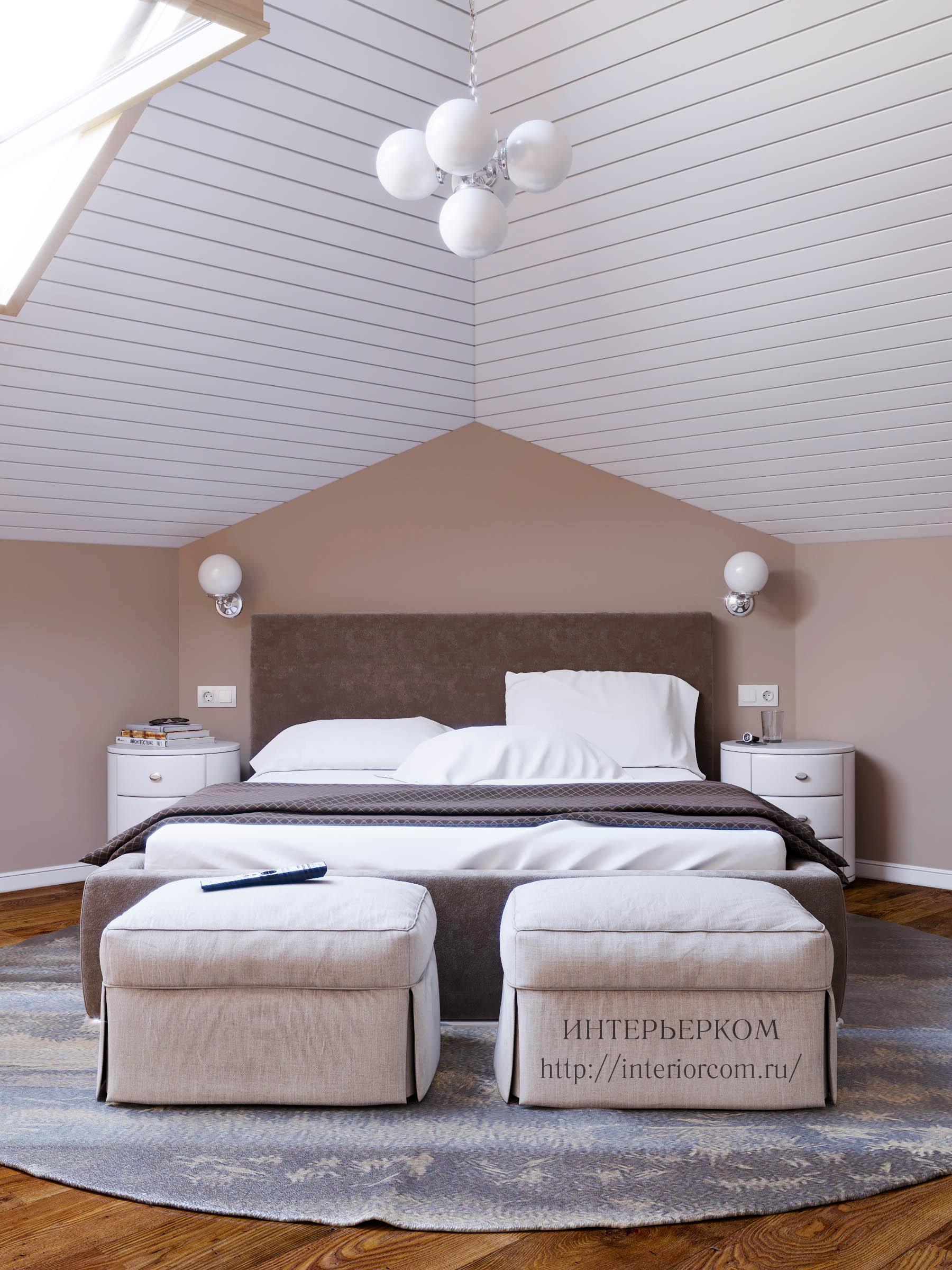 гостевая спальня на мансарде дома